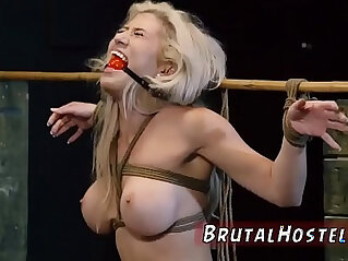 swallow: Bondage anal gang rough and blowjob cum swallow Big breasted blond hottie