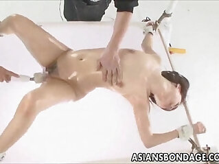 Japanese babe anally fucked in various dildos