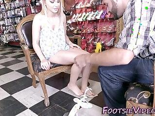 Teens feet jizzed in shop