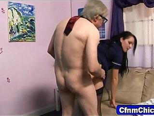 dominatrix: Sexy domina fucks geezer