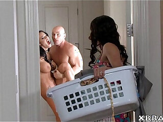 MILF: Guy with two hot and jealous wives horny threesome sex
