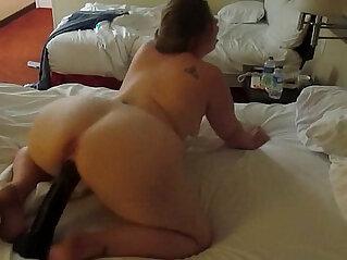 Hot PAWG riding a huge black dildo